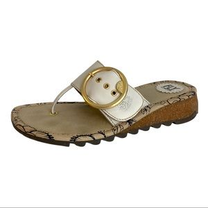 Fly London White Leather & Cork Wedge Thong Sandal